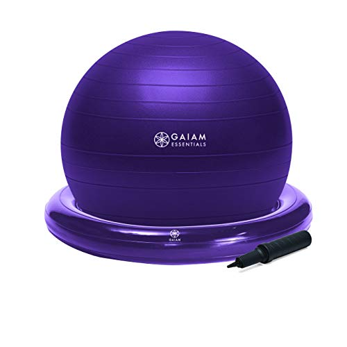 Gaiam Essentials Balance Ball & Base Kit, 65cm Yoga Ball Chair, Exercise Ball with Inflatable Ring Base for Home or Office Desk, Includes Air Pump - Purple