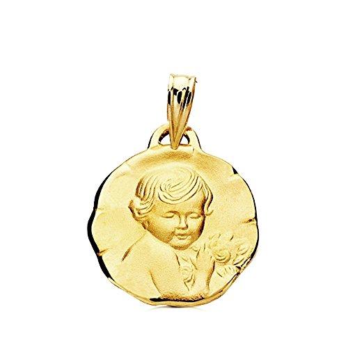 Médaille pendentif 9K Or Fleur Kid 15mm. Bébé - personnalisable - enregistrement inclus dans le prix