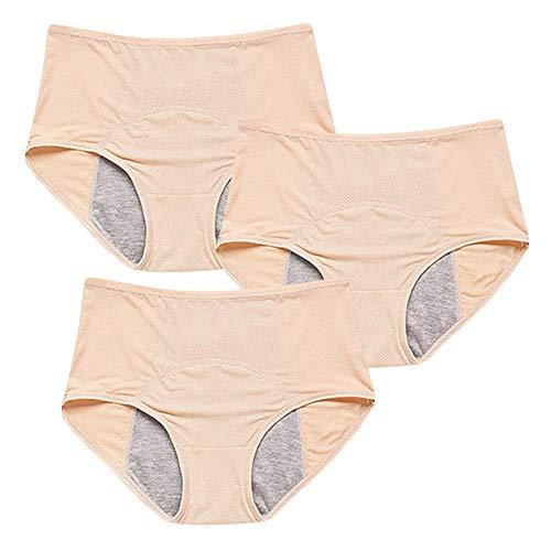 ongbia Bambus Viskose Faser Hochhaus Kurze Menstruation Physiologische auslaufsicher Slip Multi Pack Größe 36-48 (BeigeX3,38)