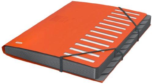 ELBA Ordnungsmappe A4 aus Kunststoff, 12 Fächer/Taben, Pultordner, orange, 1 Stück
