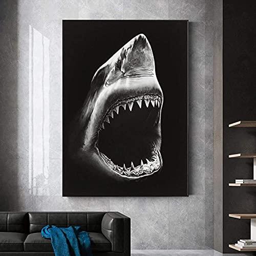 SXXRZA Impresión de Imagen 30x50 cm Impresión de Lienzo de Pared sin Marco Pintura de Lienzo Negra Moderna Animal Shark Quadros Cuadro de Arte de Pared Decoración de la Pared de la Sala de Estar