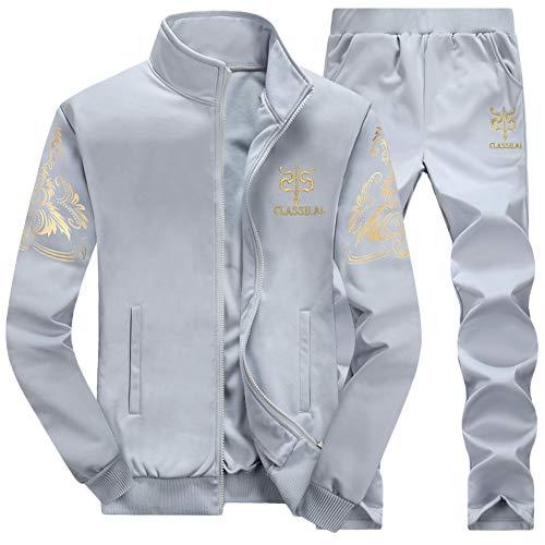 Herren Jogging Anzug Trainingsanzug Casual Jogginganzug Zwei-Teilig Sportanzug Freizeitanzug Grau M