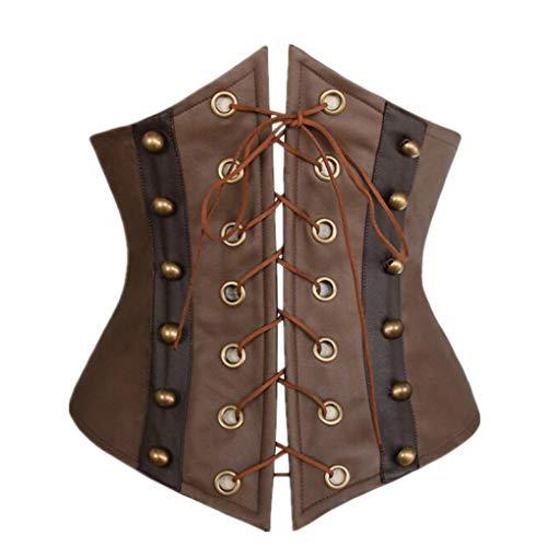 JOYOTER Cinturón de Cintura de Cuero sintético marrón para Mujer Corsé de Steampunk gótico con Cordones Underbust Bustier