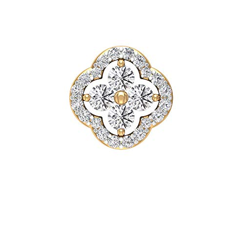 Pendientes de flor de diamante con certificado SGL de 0,43 ct, para dama de honor, para boda, cartílago, caracola de hélice, joyería del cuerpo, Oro amarillo Tornillo plano en parte posterior 6mm