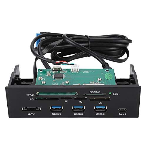 Lector de Tarjetas Interno, Lector de Tarjetas Multifunción de 5,25 Pulgadas Panel Frontal de PC Lector de Tarjetas con 3 Puertos USB 3.0, Soporte M2, MSO, Memoria, MS, XD, Tarjeta CF de 64G