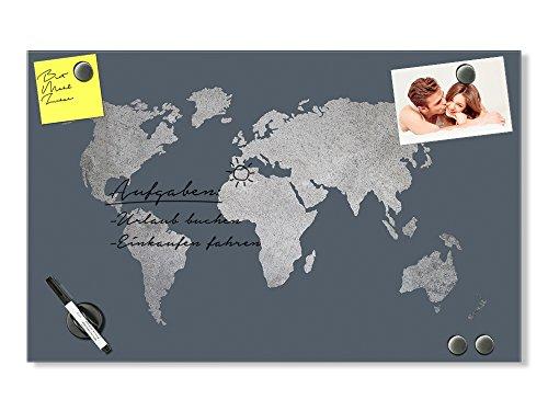 GRAZDesign Pinnwand Weltkarte, Memoboard Metalic, Magnetwand grau, Magnettafel Glas Silber / 80x50cm