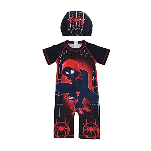 MYYLY Enfants Spiderman Maillot De Bain Justaucorps Fille Poolside Party Super-héros Sports Nautiques Vengeurs Maillots Protection Solaire Plage,Black-M Kids (115~125CM)