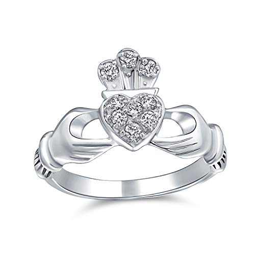 Bling Jewelry BFF Amistad Irlandesa Celta Promesa CZ Allanar Corazón Claddagh Anillo para Mujer para Adolescente 925 Plata De Ley 925