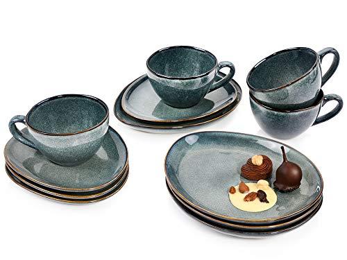 Sänger Kaffeeservice Darwin aus Porzellan 12 teilig für 4 Personen - Füllmenge der Tassen ml - Geschirrset im Vintage-Stil Grau-Braun, Geschirrset, Porzellanservice