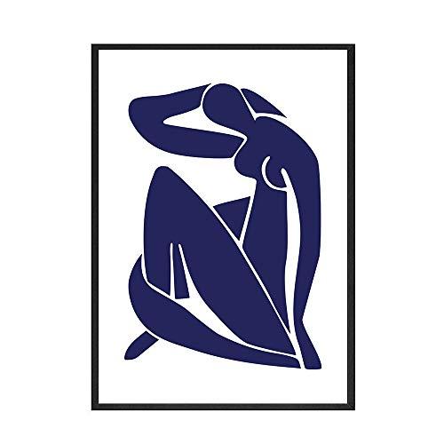 Vintage Henri Matisse carteles e impresiones retro línea cara arte de la pared lienzo para el hogar pintura en lienzo sin marco B 50x75cm