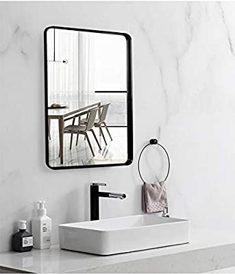 """Black Wall Framed Rectangular Mirrors for Bathrooms (22""""x30""""), Large Rectangle Mirror with Brushed Glass Panel, Modern Home Entryway Decor Mirror with Corner Deep Design, Hangs Horizontal or Vertical"""