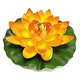 YO-HAPPY Almohadillas de lirio de agua realistas de flor de loto artificial para estanque acuario piscina jardín
