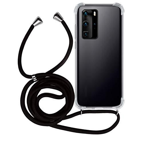MyGadget Handykette für Huawei P40 Pro TPU Hülle mit Band - Handyhülle mit Handyband zum Umhängen Kordel Schnur Hülle Schutzhülle - Schwarz