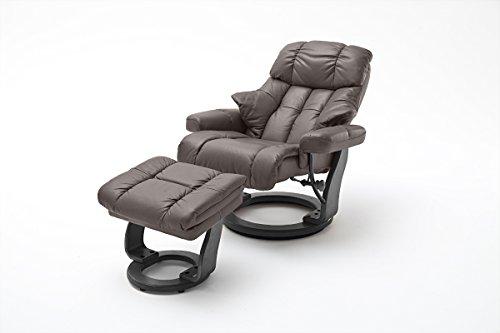 Robas Lund Sessel Leder Relaxsessel TV Sessel mit Hocker bis 180 Kg, Fernsehsessel Echtleder braun, Calgary XXL