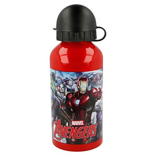 Brigamo Avengers Kinder Trinkflasche, 400ml Wasserflasche, auslaufsicher, aus Aluminium - für Sport, Schule & Kindergarten