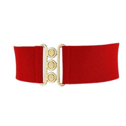 FASHIONGEN - Cintura donna 7,50 cm larga e Elastica, fatto in Francia, GLORIA - Rosso scuro (Fibbia dorata), Medium/pantaloni da 38 a 41