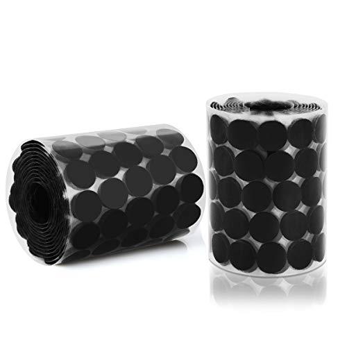 HAUSPROFI 1000 piezas de 20 mm autoadhesivo, 500 pares de pegatinas con puntadas adhesivas adecuadas para papel, plástico, vidrio, cuero, metal, prendas de vestir (Negro-20mm)