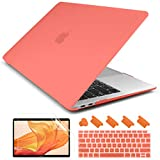 Dongke Newest MacBook Air 13 inch Case 2020 2019 2018 Release M1 A2337/A2179/A1932, Rubberized Frosted Matte Hard Case Cover for MacBook Air 13.3 inch with Retina Display Touch ID - Living Coral