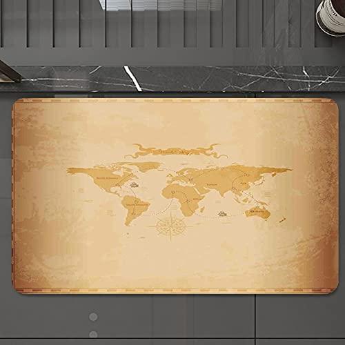 Alfombrilla de Baño Antideslizantes de 50X80 cm,Mapa mundial, Rústico antiguo Vintage Explor, Tapete para el Piso Lavable a Máquina con Microfibras Suaves Absorbentes de Agua para Bañera, Ducha y Baño