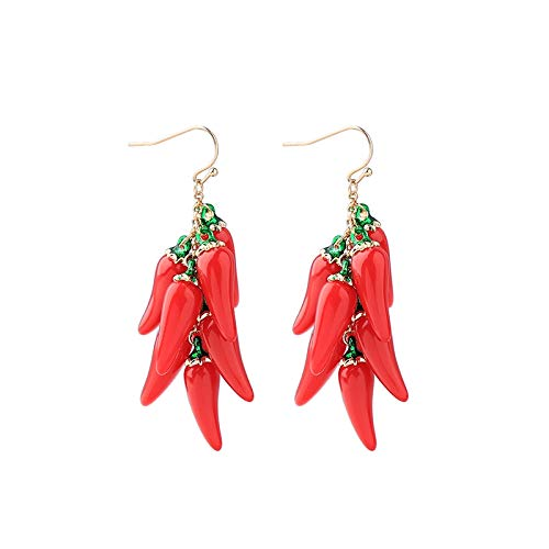 Dames Oorbellen Leuke Rode Glazuur Peper Gelaagde Oorbellen Voor Vrouwen Sieraden Bengelen Oorbellen