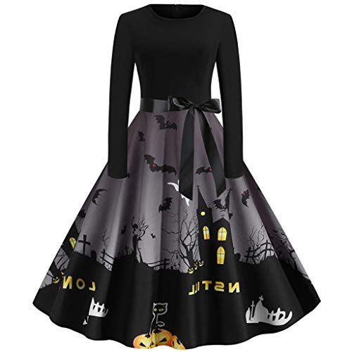 Best Prices! Vintage Cocktail Party Dress 1950s Retro Dresses Scary Bat Dark Castle A-line Halloween...