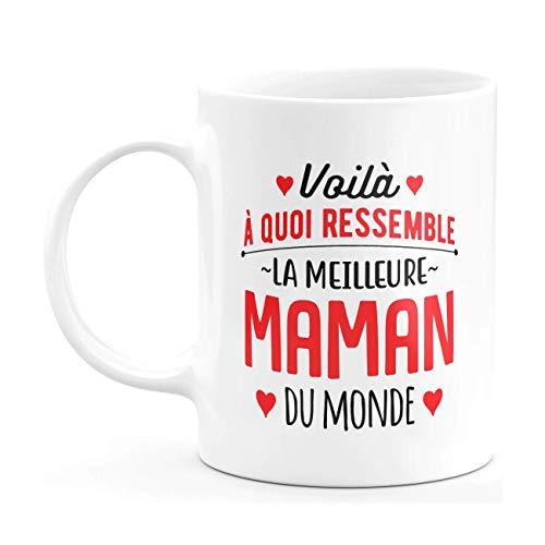 """Taza con texto en inglés """"Velo a qué se siente la mejor mamá del mundo"""" – Taza de café – Original humorística – Idea de regalo para el día de la madre para Navidad"""