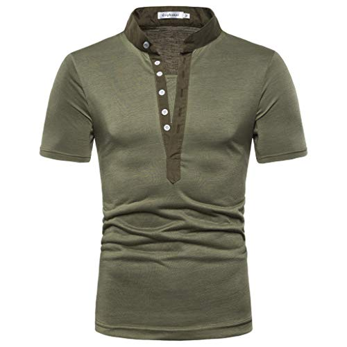 Men's Pure Color Button Striped Splice Casual Sport Lapel Short Sleeve Shirt Army Green