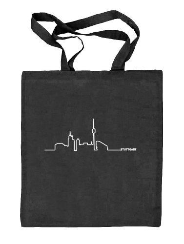 Shirtstreet24, Skyline Stuttgart, Benz Town Benztown Städte Stoffbeutel Jute Tasche (ONE SIZE), Größe: onesize,schwarz natur