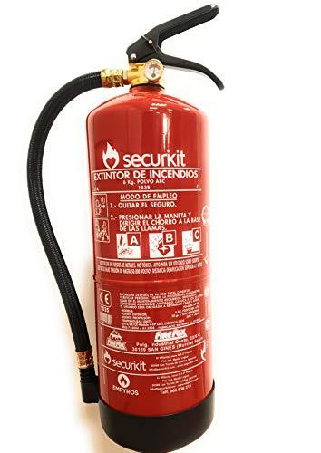 EXTINTOR SECURIKIT 6Kg de polvo químico ABC Eficacia 27A 183B C. Homologado según la normativa EN-3. Marcado CE ES033614-1035- Directiva 2014/68/UE