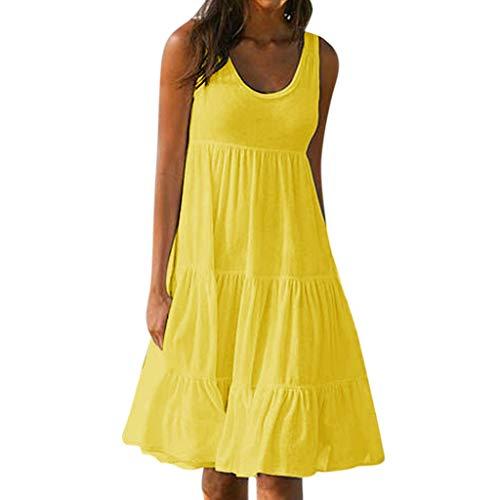 Fghyh Freizeitkleider für Damen, Ärmellos Schlüsselloch Saum Lose Einfarbig Lässig Sommerkleider Strandkleid Minikleid(M, Gelb)