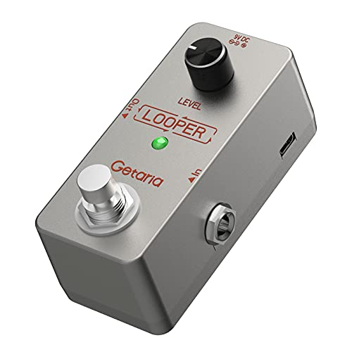 Getaria Guitar Looper Gitarreneffektpedal Elektrisches Looper-Pedal Unbegrenzte Overdubs 5 Minuten Looping-Zeit True Bypass mit USB-Kabel