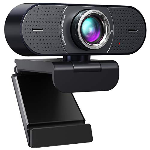 Cámara web 1080P con micrófono USB - Cámara web de sala de conferencias con corrección de exposición, Plug & Play, 120° de visión ancha, cámara de PC para computadoras, conferencias, reuniones