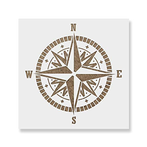 Compass Stencil - Reusable Stencils for Painting - Create DIY Compass Crafts and Decor