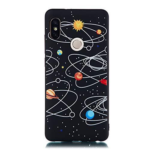 Artfeel Noir Souple Silicone Coque pour Xiaomi Redmi Note 5 Pro,Ciel étoilé Étui avec Espace Planètes Motif,Ultra Mince Flexible TPU Pare-Chocs Anti-Rayures Arrière Housse