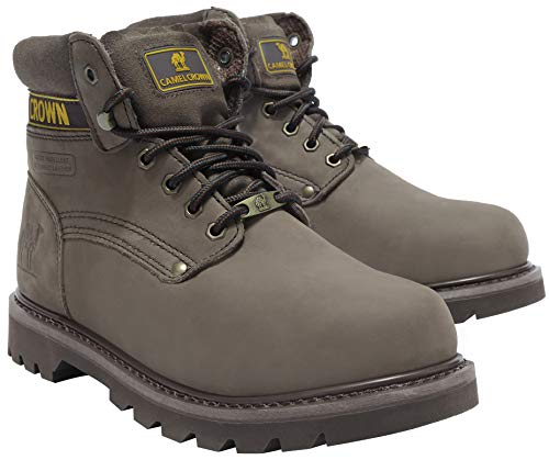CAMEL CROWN Mens Genuine Leather Work Boots 6'' Soft Toe Utility Ankle Boot for Work Casual Walking Rubber Sole Traction