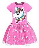 AmzBarley Vestido Princesa de Unicornio Fiesta Niña Tutu para Cosply Cumpleaños,Disfraz Tutu Princesa Unicornio Infantil Niña … (Rosa Rojo 90, 3-4 Años)