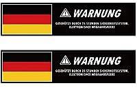 Roost ドイツ国旗 ドイツ語セキュリティステッカー 2枚 窓用 ドイツ車 ウィンドウ用 クリア ホワイト VW アウディ メルセデス ベンツ BMW