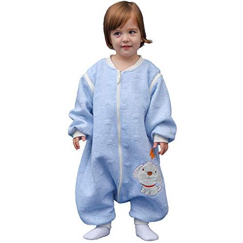 Schläfsack baby langarm winter kinderSchlafsack,Hund Muster Baby Schlafsack mit Füßen Baumwolle Junge Mädchen unisex ganzjahres Schlafanzug. (M:90cm 1-3Jahre, Blau)