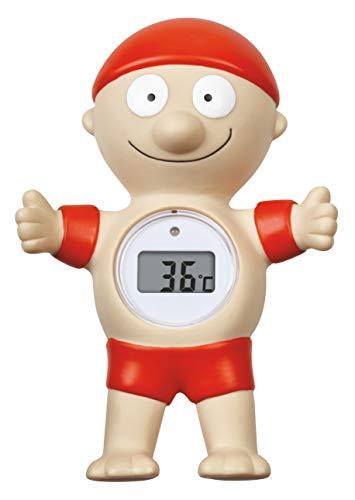 TFA Dostmann Digitales Badethermometer Bademeister, 30.2032, LED Warnung bei zu hoher Badetemperatur, schwimmt, gut ablesbar, rot