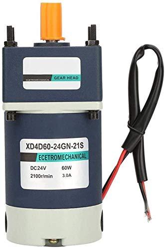 DC Gear Motor, 24V 60W de alta torsión Tarifa ajustable engranaje de metal Imán permanente DC Motor engranado para maquinaria de ascensor Máquina de soldadura Industria de herramientas (20,100 rpm) He