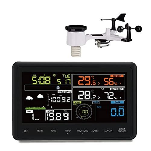 SJH Estación Meteorológica WLAN 7-IN-1 con Sensor,colector de Lluvia, Pantalla de Color, advertencias de Clima, Datos de Clima en Vivo, información precisa, LED, WiFi