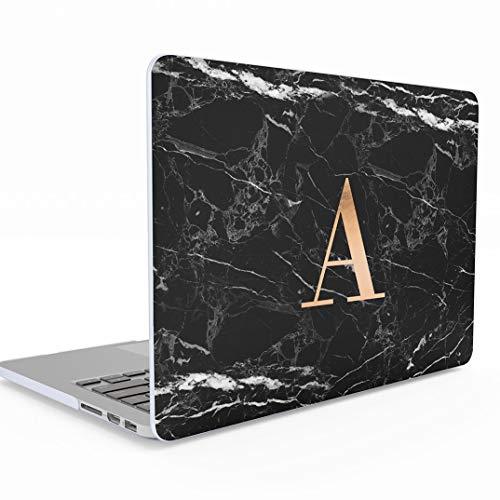 Funda Personalizada Negra Marmol Iniciales Black Glamorous Letter Name Customizable Marble Macbook Air 13 Pulgadas Release 2018-2019 Modelo:...