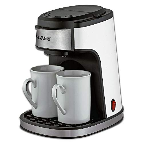 SILVANO Cafetera eléctrica de Goteo. Incluye 2 x Tazas de café de...