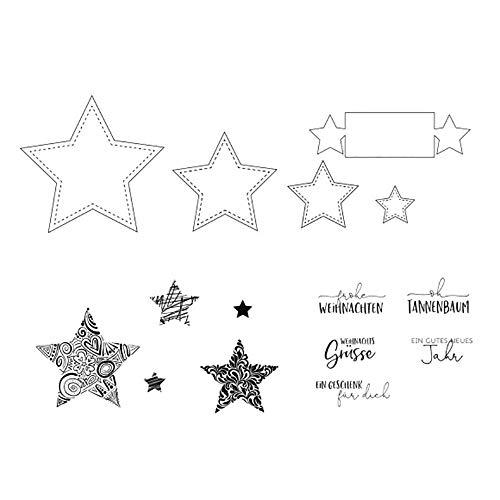 Vaessen Creative MV-CSS-222 Stanz-und Stempelset, Sterne, Erstellen Sie Schöne Entwürfe für Scrapbooking, Kartenherstellung und andere Papierprojekte, Durchscheinend, 21 x 23 cm
