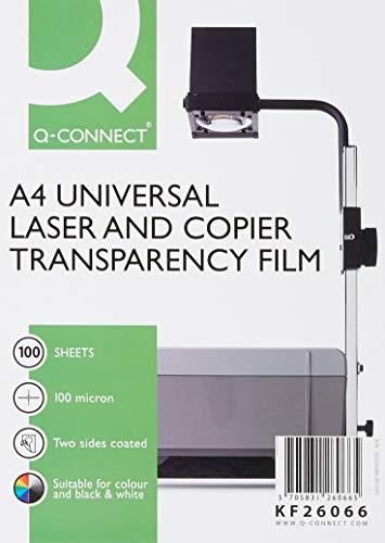 Q-Connect KF26066 - Transparencias para proyector (100 micras, 100 unidades)