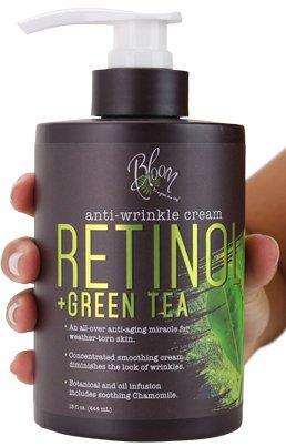 Bloom Retinol + Green Tea Cream Anti-Wrinkle For Fine Lines, Wrinkles, Sun Damaged Skin, Age Spots, Crows Feet. Large 15oz Bottle