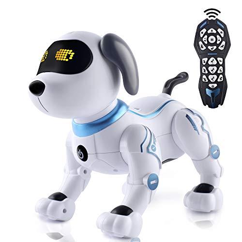 IDEAPARK Perro de Juguete Control Remoto, RC Robotic Stunt Puppy Juguetes de Control de Voz, RC Programable y Robot de Baile con Sonido Interactivo.Regalo para niños y niñas de 3 a 12 años