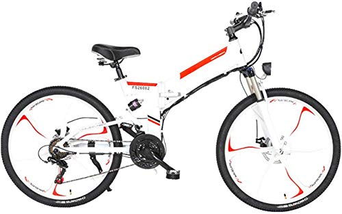 Electric Bike Electric Mountain Bike Electric Snow Bike, Folding Electric Mountain Bike, 26'' Electric Bike E-Bike 21 Speed Gear And Three Working Modes. with Removable 48V 10/12.8AH Lithium-Ion Batte