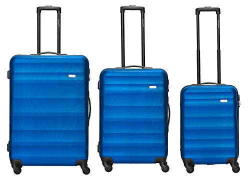 Packenger Kofferset - Timber - 3-teilig (M, L & XL), 4 Rollen, Koffer mit Zahlenschloss, Hartschalenkoffer (ABS) robuster Trolley Reisekoffer (Blau)