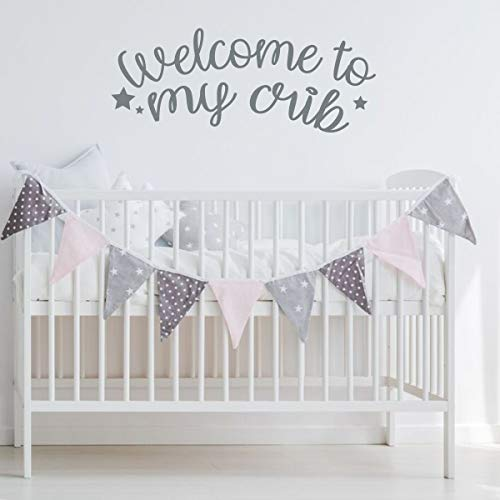CustomVinylDecor Baby Nursery Decor | Welcome To My Crib Cursive Quote Vinyl Decal | Crib Sticker Decoration Available in Pink, Purple, Black, White, Gold Other Colors | Small and Large Sizes
